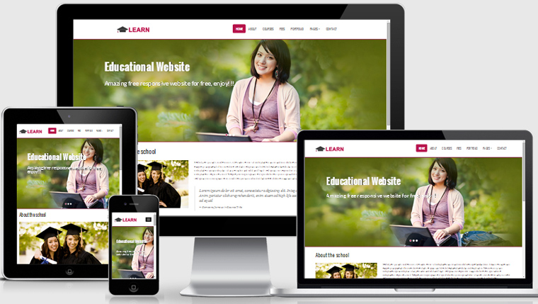 learn educational free responsive web template - WebThemez - resume site template