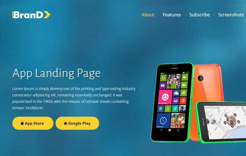 App Landing Page Template Free Download - WebThemez - Free App Template