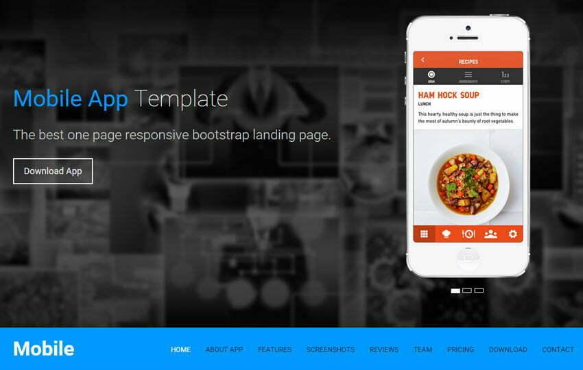 One page Template HTML5 Landing Page WebThemez - Free App Template