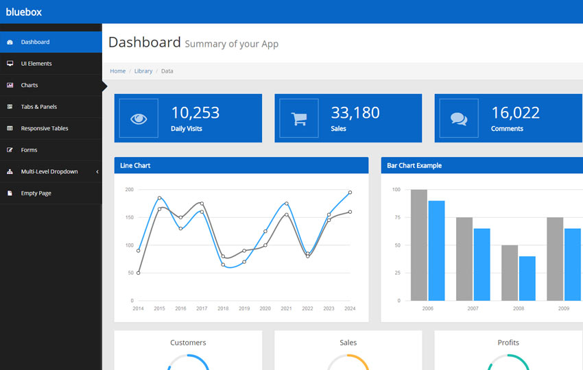 Bluebox Free Bootstrap Admin Template - WebThemez - bootstrap admin template