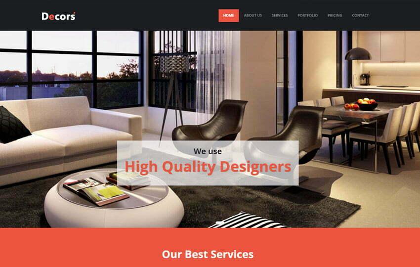 HTML5 Interior Design Website Template - WebThemez - interior design web template