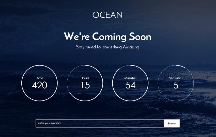 Ocean Free Coming Soon Bootstrap Template - WebThemez