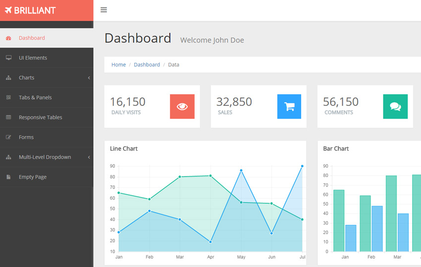 Brilliant Free Bootstrap Admin Template - WebThemez