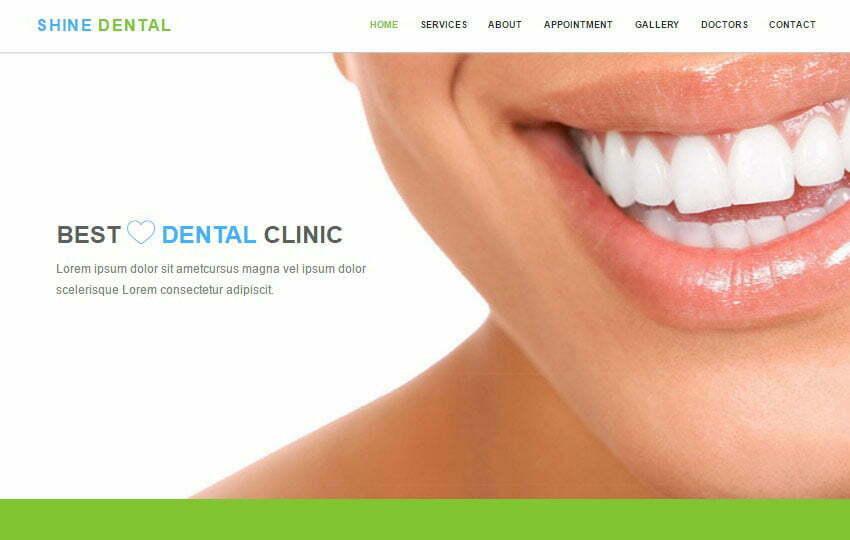 Shine Dental Clinic Html5 Bootstrap Web Template - WebThemez