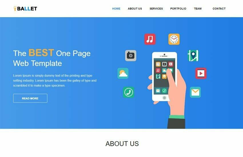 One Page Free Website Template By WebThemez