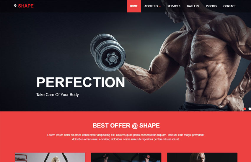 Shape Free Fitness Website Template - WebThemez - Fitness Templates Free