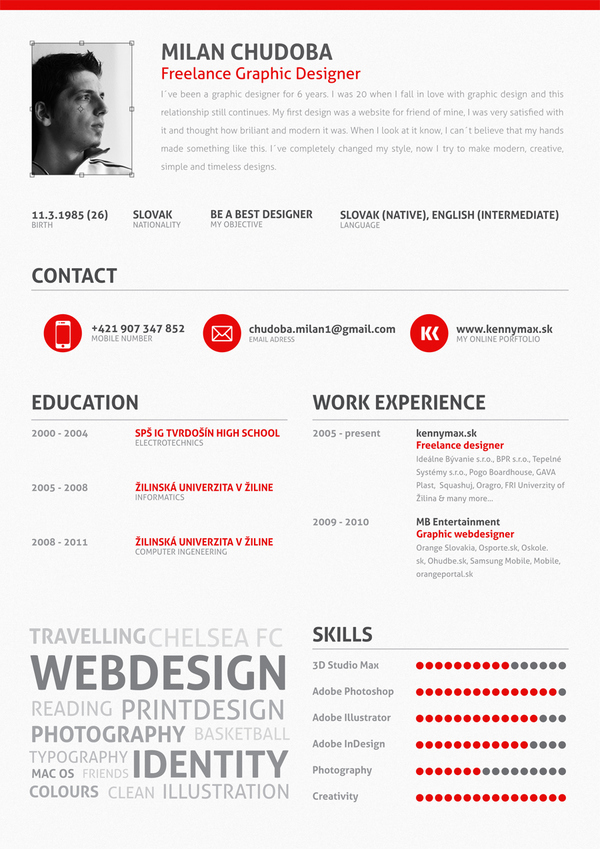 Using percent bar to show skills on resumes  graphic_design - design skills resume