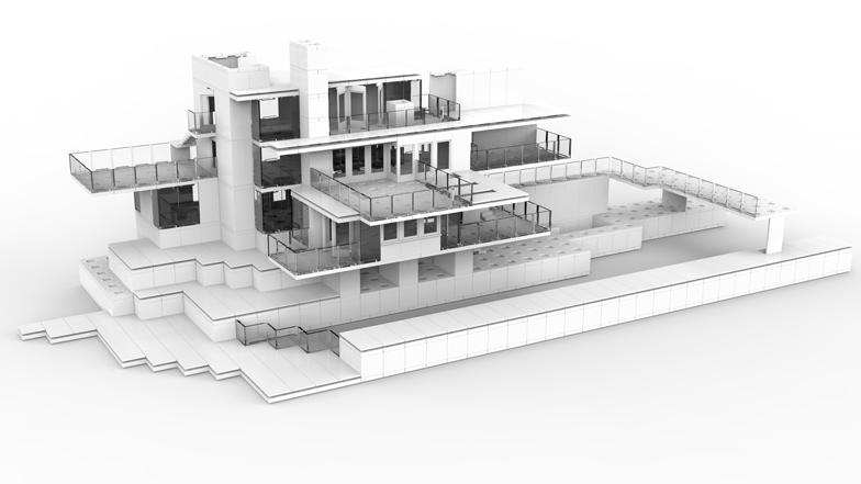Falling Water House Wallpaper Arckit Reusable Model Making Blocks Built By Amp For