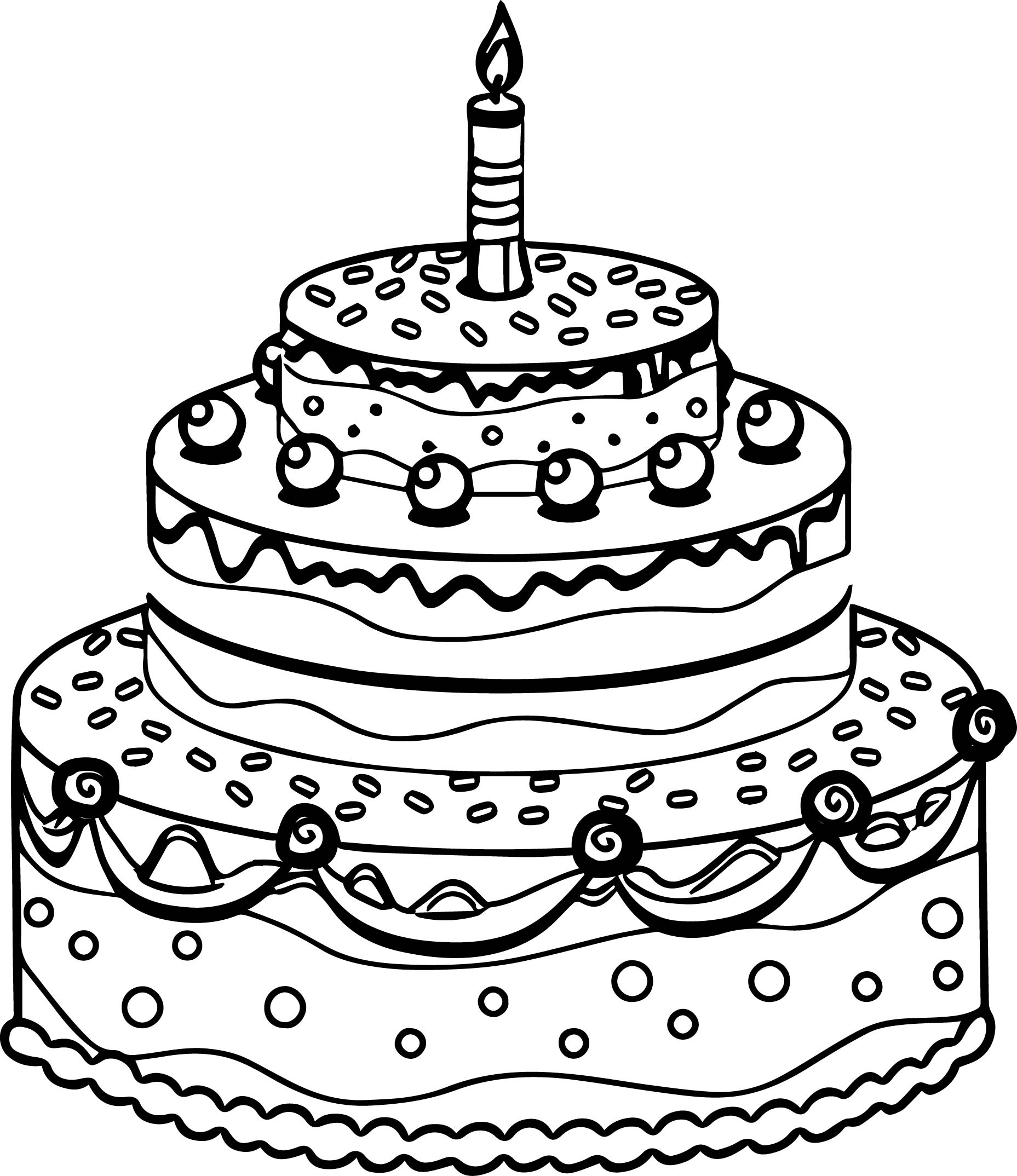 Drawing Cake Colour Cute Birthday Cake Coloring Page Wecoloringpage