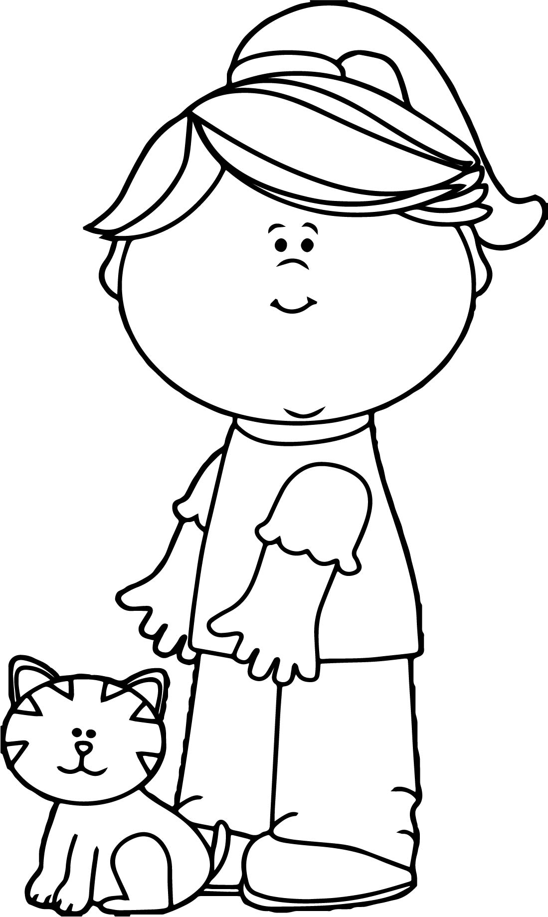 Girl With Cat Coloring Page Wecoloringpage Com