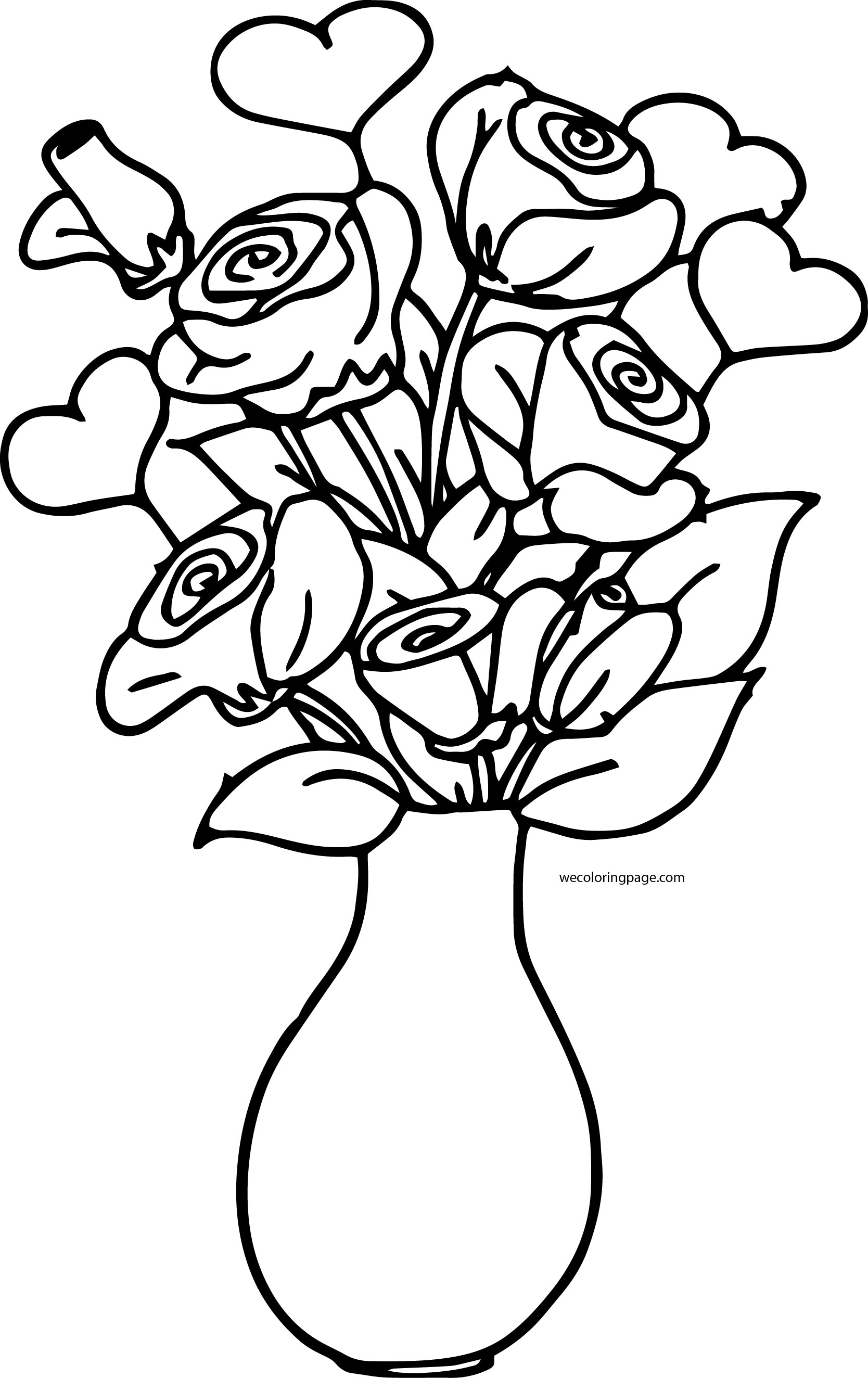 Rosen In Vase Rose Bucket In Vase Coloring Page Wecoloringpage