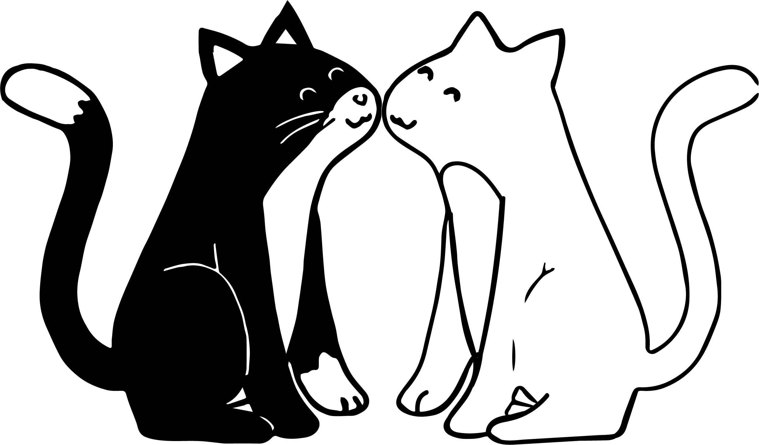 Black And White Cat Love Coloring Page Wecoloringpage Com