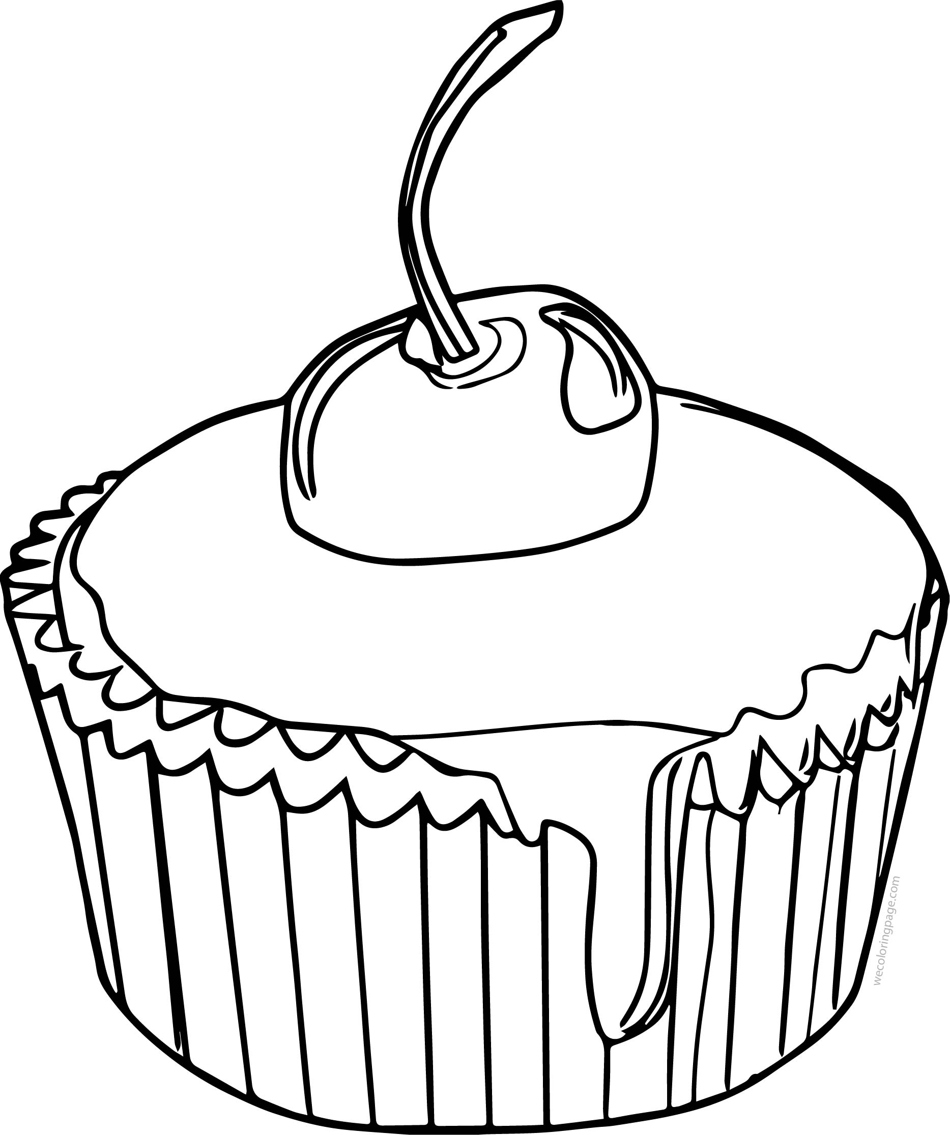 Drawing Cake Colour Drawing Cupcake Cup Cake Cherry Coloring Page