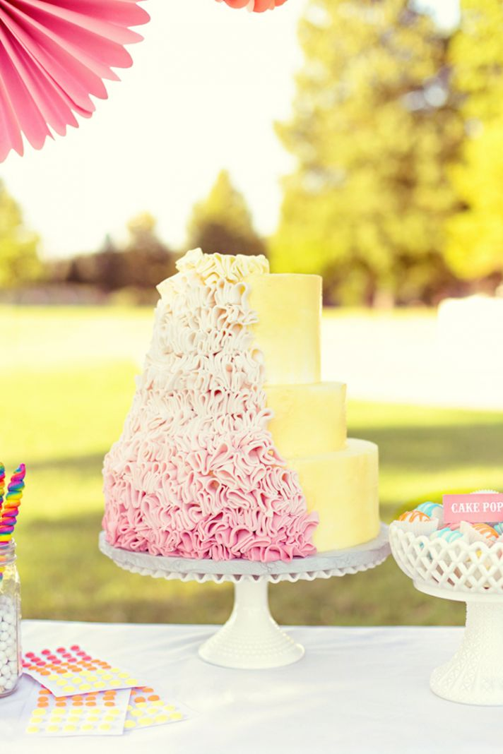 Bright Yellow and Pink Ombre Wedding Cake
