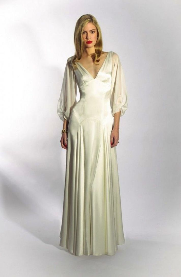 Sleek and elegant liquid satin wedding dresses crazyforus for Silk wedding dresses with sleeves