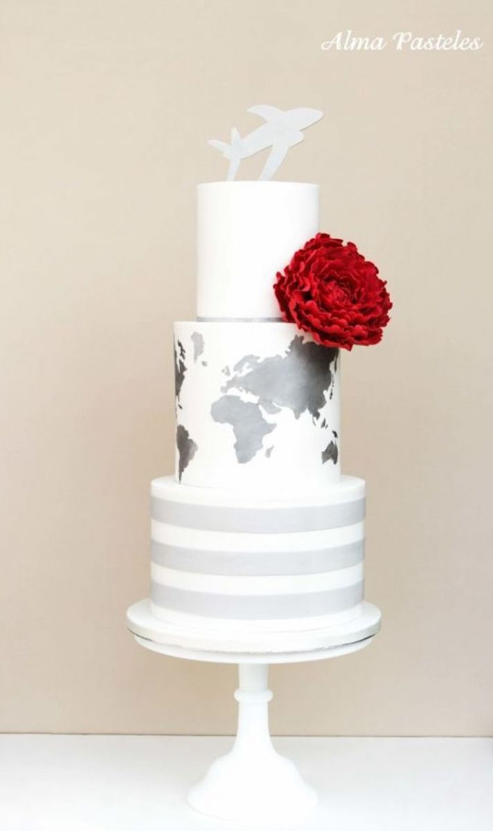 Modern Cake with A Map On It