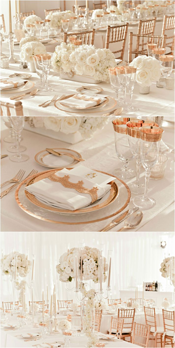 Rose gold and ivory wedding reception decor