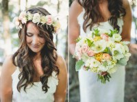 Bridal Bouquet and Bohemian Hair Wreath with Lambs Ear ...
