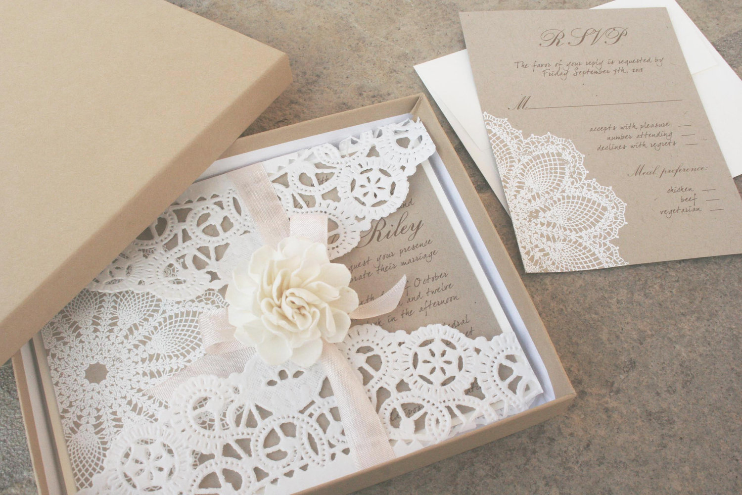Diy Wedding Invitations With Photo Lace And Kraft Paper Boxed Wedding Invitations Onewed
