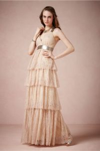 Long lace bridesmaid dress in light blush pink | OneWed.com