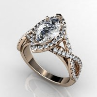 1 ct marquise rose gold engagement ring   OneWed.com