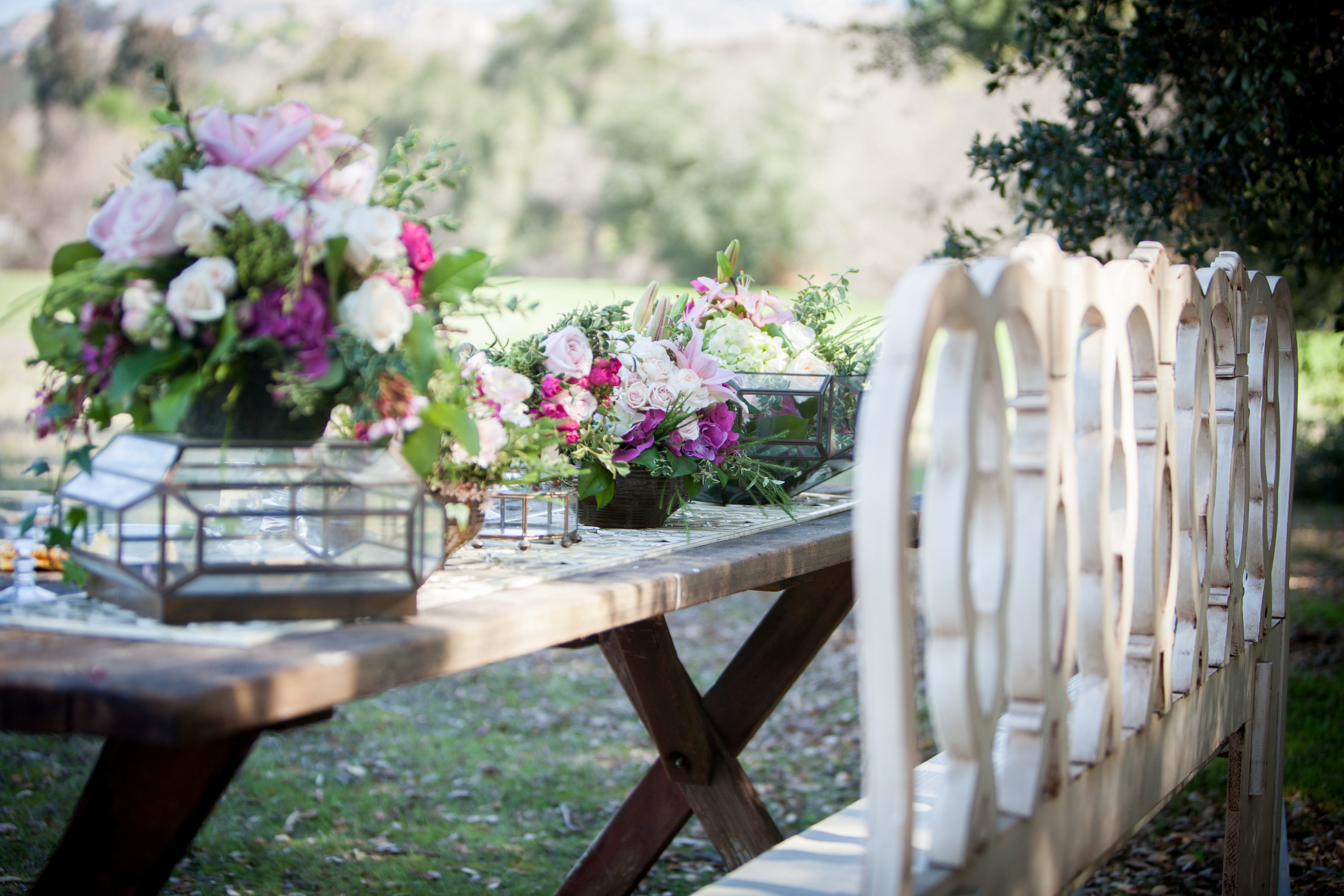 Giardino Country Chic Romantic Outdoor Wedding Reception Table Vintage Chairs