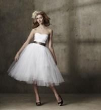 tea length wedding dress tulle strapless | OneWed.com