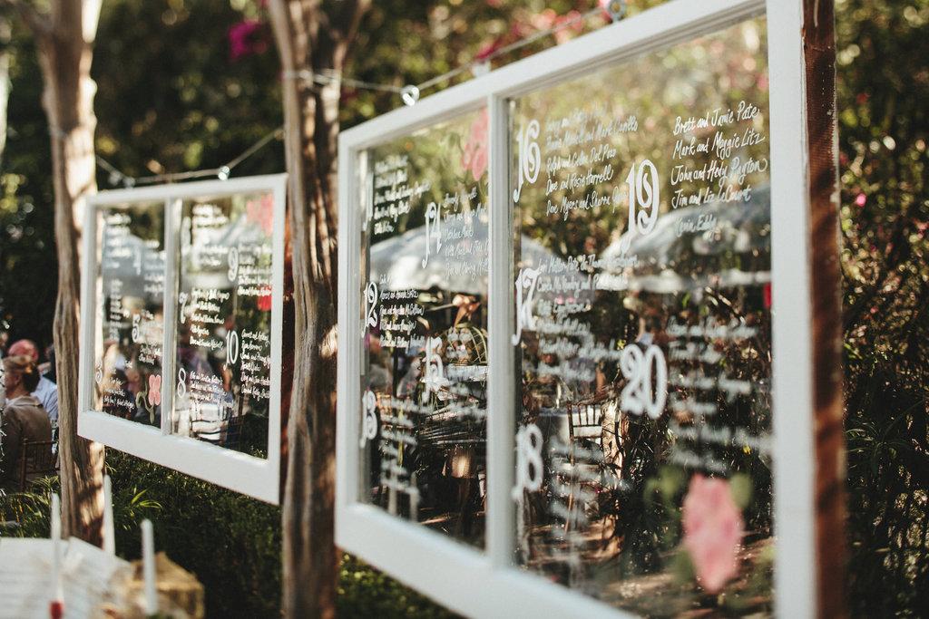 Vintage window wedding seating chart