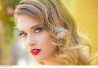 Retro inspired wedding hair and makeup bold red lips