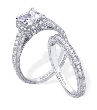 Dazzling platinum and diamond engagement ring and wedding ...