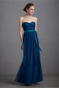 elegant navy blue bridesmaid dress long gown BHLDN ...