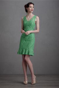 green lace bridesmaid dress BHLDN | OneWed.com