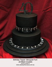 bedazzled wedding cake topper for black tie wedding monogram