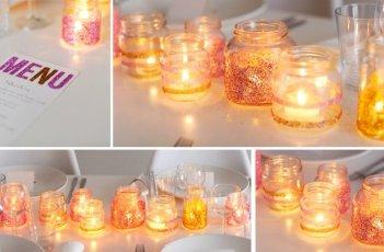 Summer Wedding DIY Glitter Candle Holders