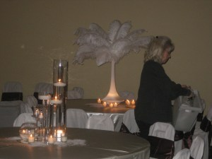 Feather and Candle Wedding Decor