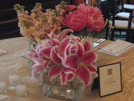 Wedding centerpiece with Stargazer Lilies, coral peonies