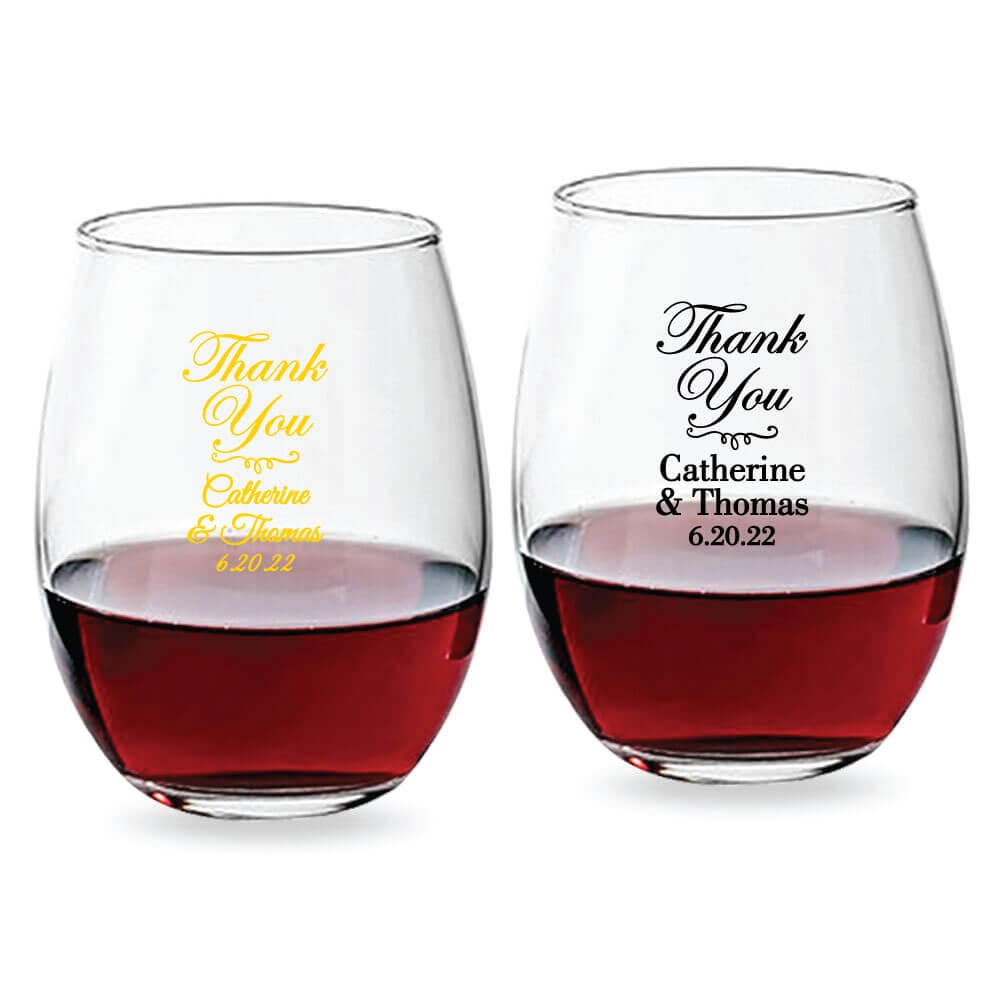 Wine Glasses Thank You Personalized Stemless Wine Glass 9 Oz Or 15 Oz