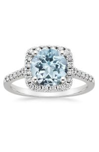 Engagement Rings : Platinum aquamarine halo engagement ...