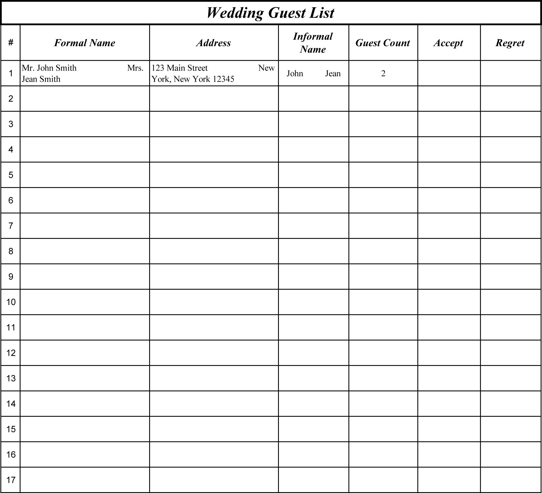 Wedding Guest List Template Free free postcard templates microsoft – Guest List Template Free