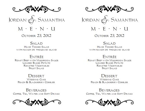 Wedding Menu Template 1 Wedding Menu Templates - menu templates for word