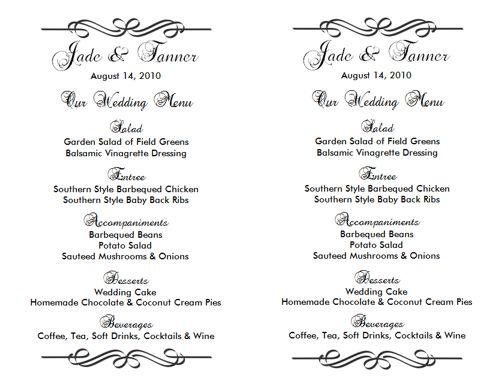 Wedding Menu Template 2 Wedding Menu Templates - wedding menu template