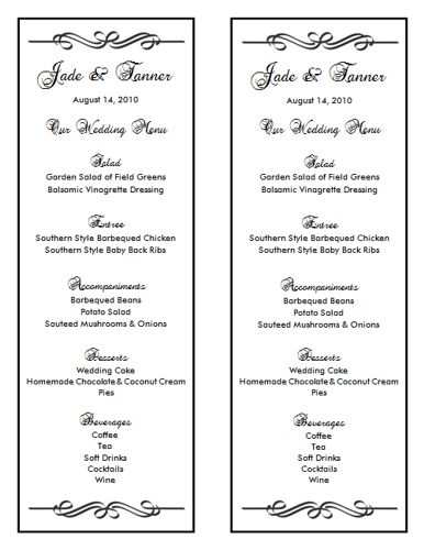 Wedding Menu Template 7 Wedding Menu Templates - menu templates free download word