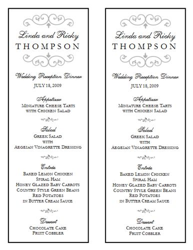 free wedding menu templates download - Minimfagency