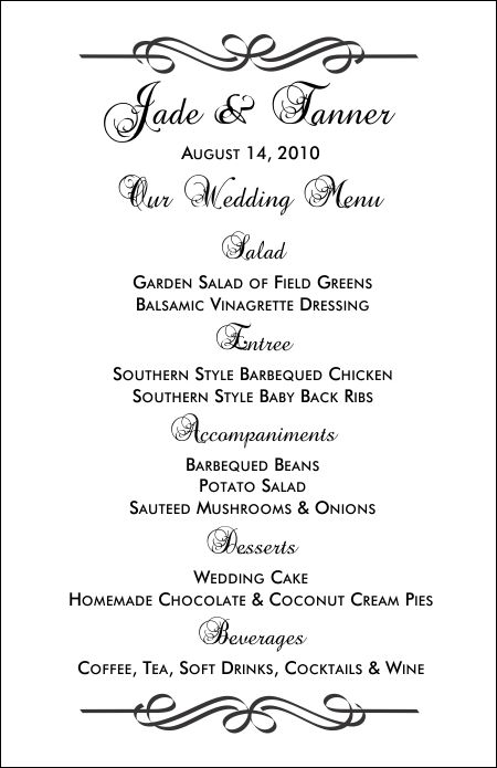 wedding menu templates for microsoft word free - Onwebioinnovate