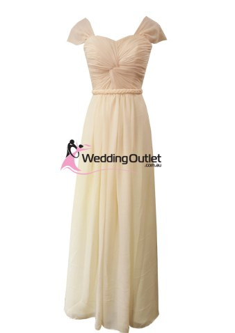 Baby Peach Capped Sleeves Bridesmaid Dress Style #AR101
