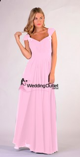 Baby Pink Sleeved Bridesmaid Dresses style #A1029