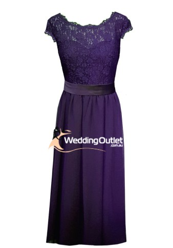 Amethyst Purple Lace Cap Sleeve Bridesmaid Dress Mother of Bride Style #AE1100