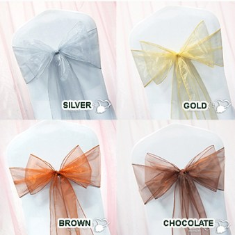 Chair Sash Silver Gold Brown 10/Pack