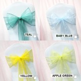 Chair Sash Teal Yellow Blue 10/Pack