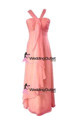 Coral Pink Halter Neck Bridesmaid Dresses Style #AL101